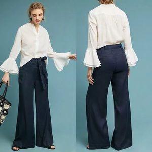 Anthropologie Tie-Waist Linen Wide Leg Trousers